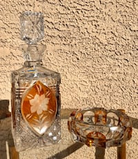 Vintage Mid Century Bohemian Crystal Decanter & Ashtray Las Vegas, 89123