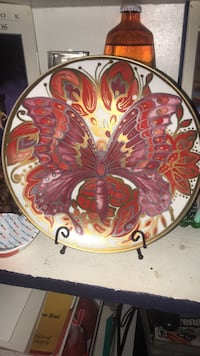 Hand painted butterfly plate with stand home decor Saint Petersburg, 33713