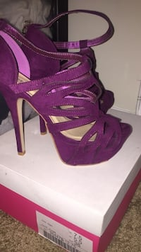 pair of purple open-toe platform stilettos Reston, 20190
