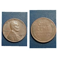 round gold-colored 1 Liberty cent collage Cleburne, 76031