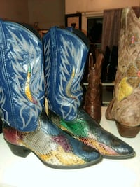 pair of blue-and-brown leather cowboy boots Jackson, 39204