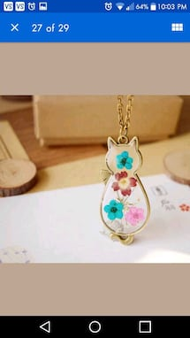 New real flower in glass cat pendant necklace