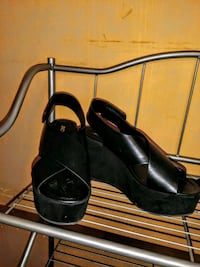 pair of black leather open toe ankle strap heels Alamo, 78516