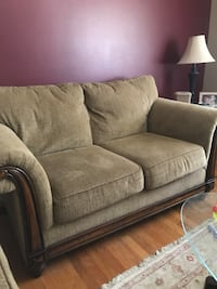 Couch and love seat EUC tan with wood trim Middletown, 45044