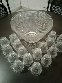 Glass punch bowl with 17 glass cups