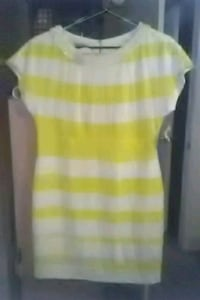 yellow, white, Kay Unger dress Beaumont, 77706