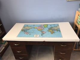 Laminated World map desk