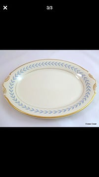 White blue and gold ceramic plates whole set 36 pieces  York