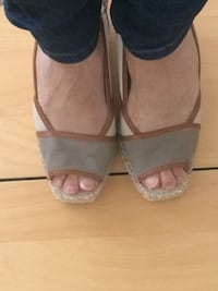 pair of gray leather open toe ankle strap heels Falls Church, 22041