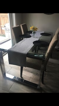 rectangular black wooden table with six chairs dining set Hamilton, L8W 0B9
