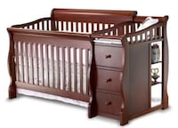 brown wooden crib with changing table WASHINGTON