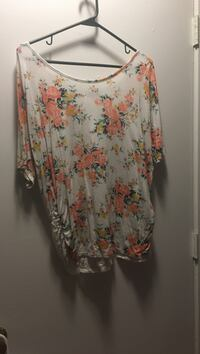 women's white, orange and yellow floral-print scoop-neck top