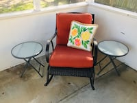 Two folding patio tables