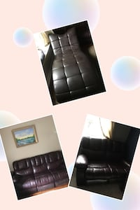 Three Brown leather tufted sofa and chair Toronto, M2H 1H3