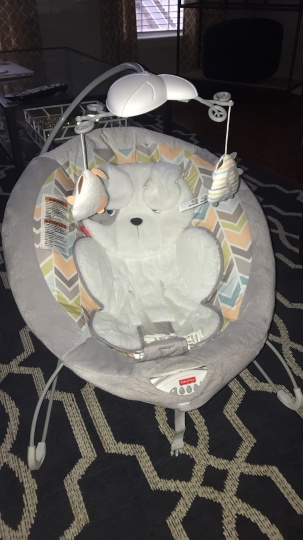 Baby's white and gray fisher price bouncer