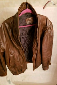 brown leather zip-up jacket Chillum, 20782