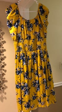 Yellow, blue, and red floral pin up style dress. Hayward, 94546