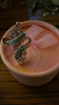 silver-colored and pink gemstone ring Webster, 14580