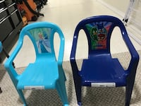 blue and white plastic armchairs Edmonton