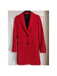 Red Knee Length Blazer Jacket Zara XS