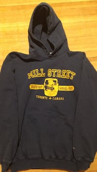 black and yellow Mill Street pullover hoodie