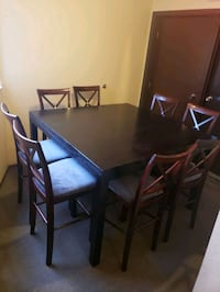 Large bar height table +8 chairs
