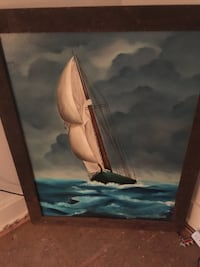brown wooden-framed painting of sailboat on body of water Lorain, 44052