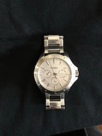 Round silver michael kors chronograph watch with link bracelet Lincoln, L2R