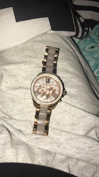 round Silver and Gold chronograph watch with link bracelet