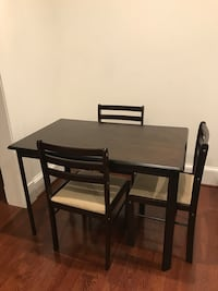 Dark brown table and 3 chairs $75 Washington, 20009