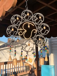 Cast Iron 9 Om Beads & Bells Large Wind Chime