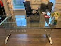 L-Shape glass and metal desk South Riding, 20152