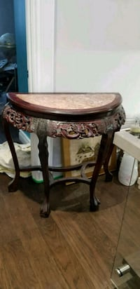 brown wooden framed glass top table Aurora, L4G 3M2
