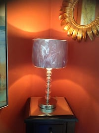 Accent glass and metal lamp 16-1/2. The shade is new, in grey/ blue color. Brossard, J4Y 2J7