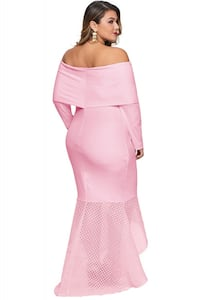 Pink Overlay Off Shoulder Fishtail Plus Size Maxi Dress Calgary, T3K 0T1