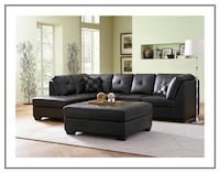 Black Leather Sectional Sofa with Left-Side Chaise Irving