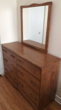 brown wooden dresser with mirror Montreal, H8P 2N6