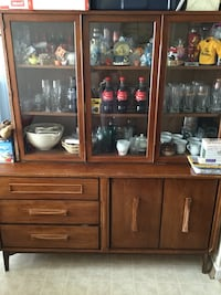 brown wooden china buffet hutch