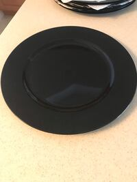 """SET OF 8 13"""" BLACK LACQUER CHARGER PLATES PERFECT FOR NEW YEAR'S EVE OR HALLOWEEN  NEW NEVER USED  Cocoa, 32922"""