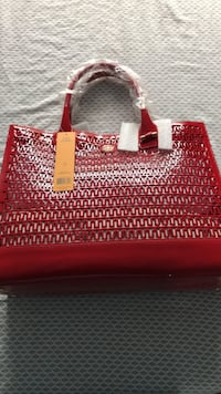 Tory Burch.  Red and white leather tote bag Franklin Park, 08873