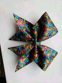 Rainbow sequins cheer bow Mercedes