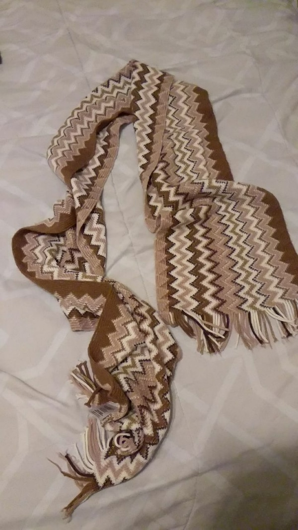 brown and white chevron fringe scarf