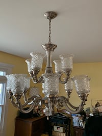 Brass and glass uplight Chandelier No Holds Cash Only Available this weekend  Toms River, 08753