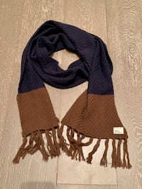 Men's Frank and Oak Navy and Brown Knit Scarf Toronto, M6J