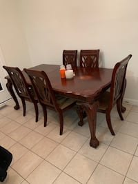 rectangular brown wooden table with six chairs dining set Burtonsville, 20866