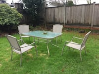 rectangular white patio table with chairs Vancouver, V6K
