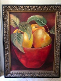 Canvas fruit bowl painting with frame - hand-painted