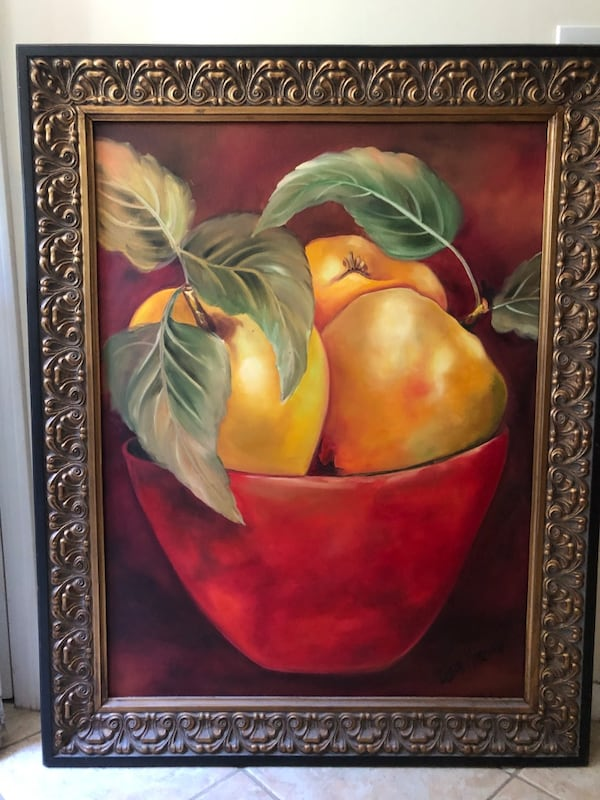 Canvas fruit bowl painting with frame - hand-painted  59142d1c-5e3e-4b66-94ca-f2d3c7962934