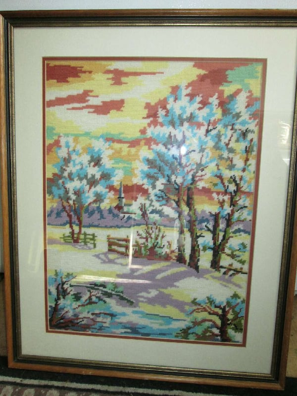 Large, framed Needle Point Art 4bf0fb74-b706-4bbd-abaa-f9d49ac8d72b