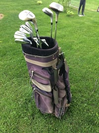 Brown golf bag with men's right handed golf clubs-new price Delhi